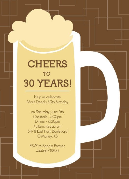 Birthday Invitations For Mens 30th