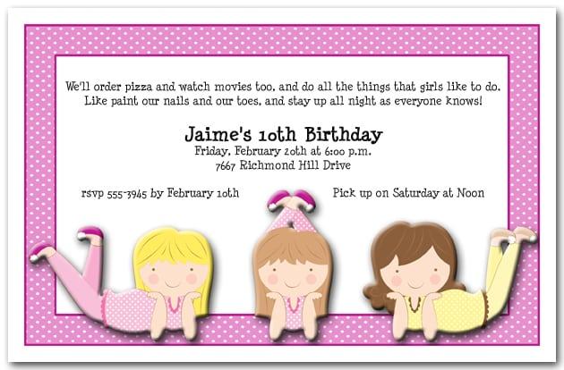 Birthday Invitations For Sleepovers