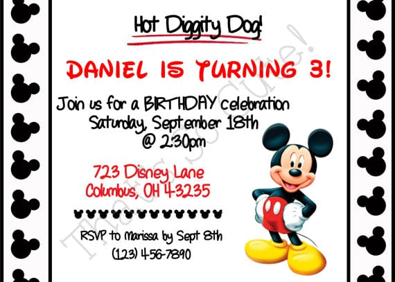 Birthday Invitations Free Printable Mickey Mouse