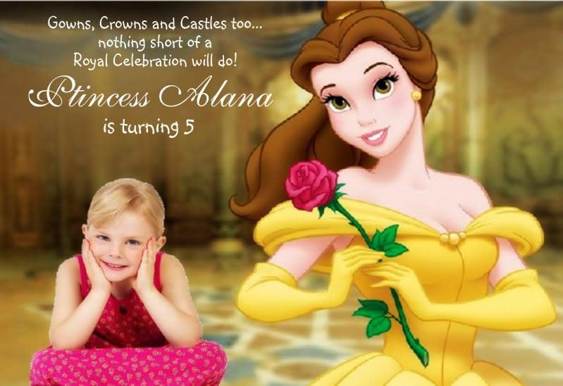 Birthday Invitations Princess Belle