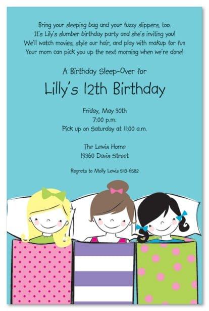 Birthday Invitations Sleepover