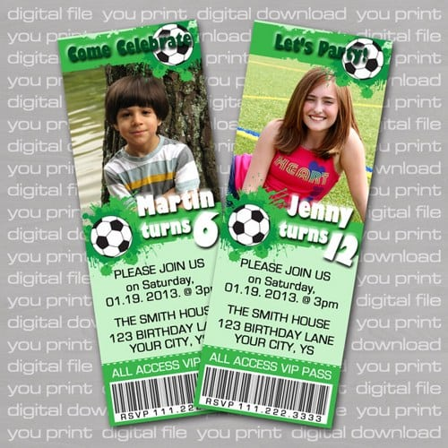 Birthday Invitations Soccer Theme Party