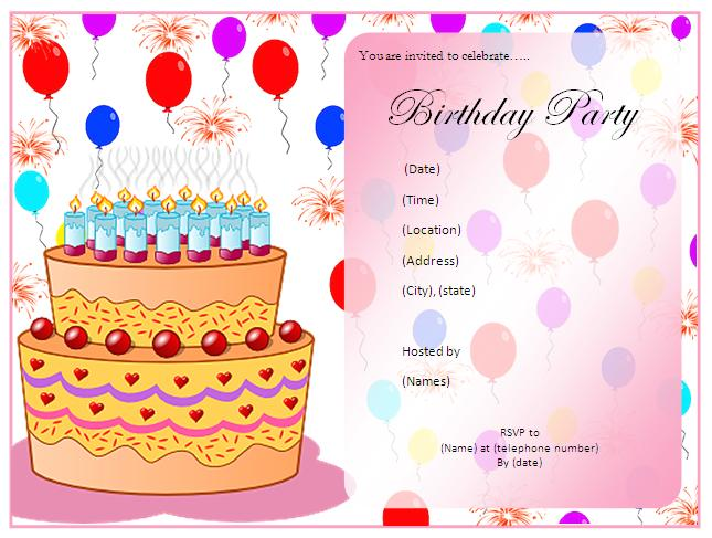 Birthday Party Invitation Cards Free Download