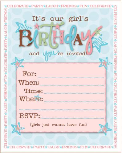 Birthday Party Invitations For Girls Free