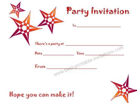 Birthday Party Printable Invitation Cards