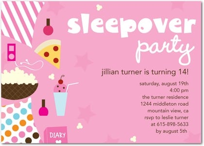 Birthday Party Slumber Invites Templates