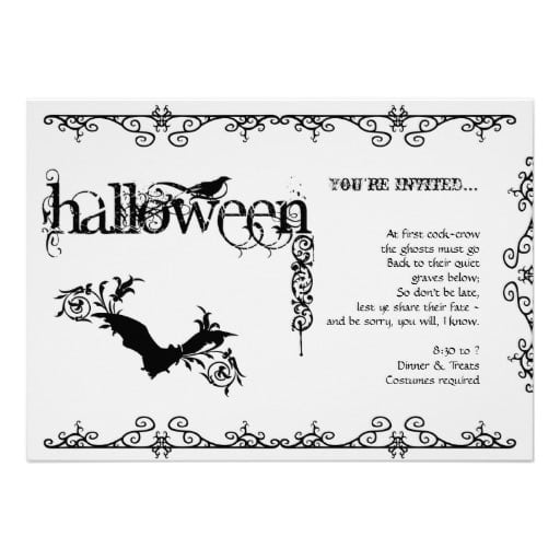 Black And White Halloween Party Invitation Templates