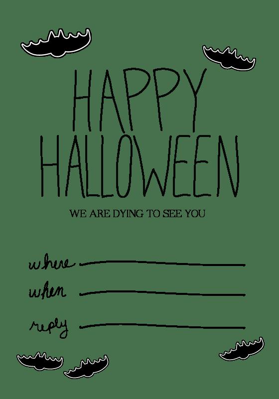 Black White Halloween Invitation