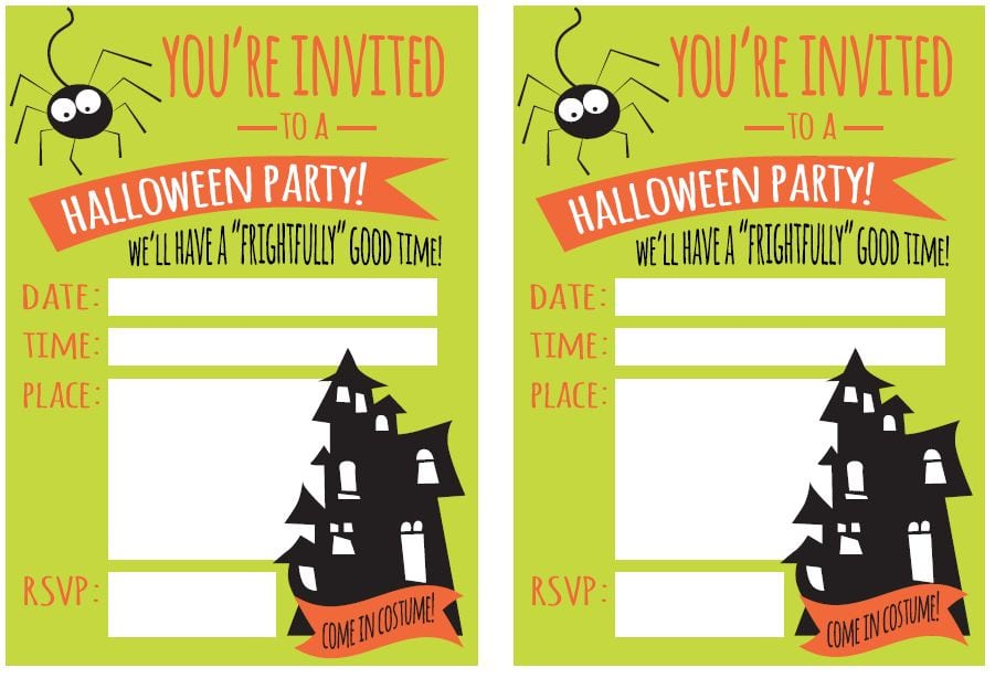 Blank Halloween Birthday Invitations