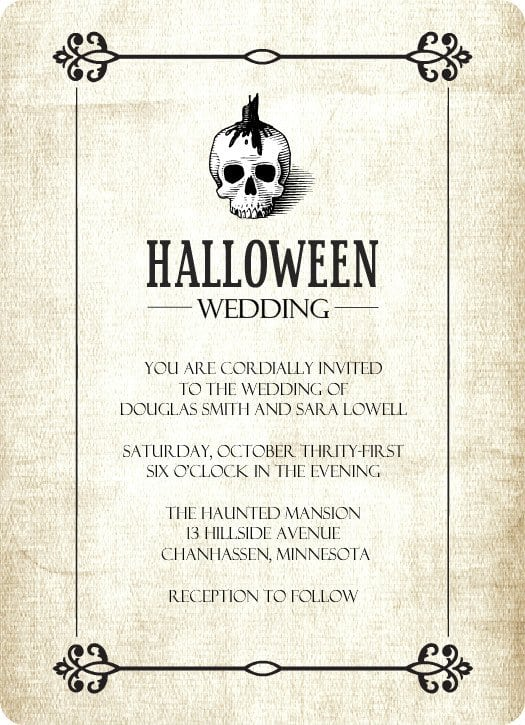 Blank Halloween Wedding Invitations