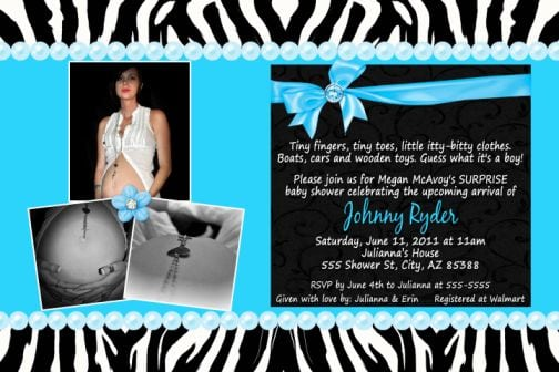 Blue Zebra Baby Shower Invitations