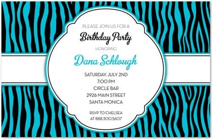 Blue Zebra Invitations