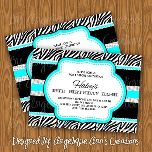 Blue Zebra Print Birthday Invitations
