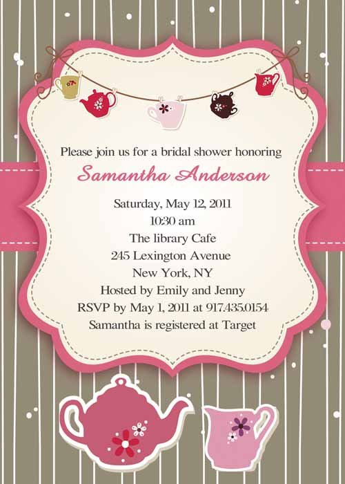 Bridal Tea Invitations Cheap