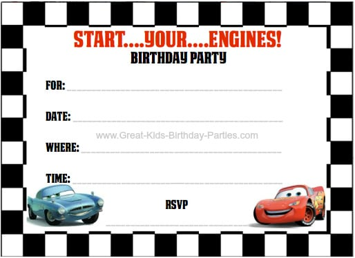 Cars Birthday Invitations Template