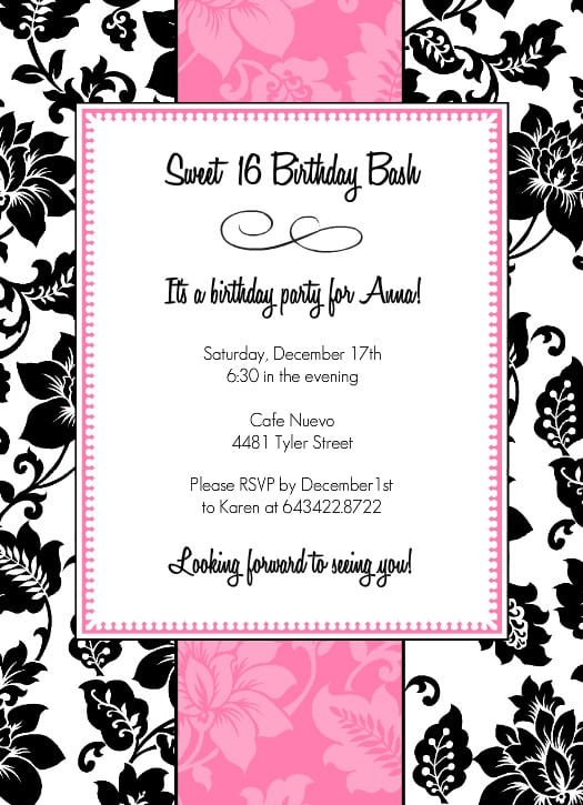 Cars Black And White Pritable Party Invitations