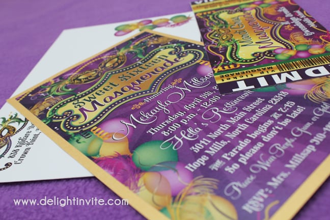 Cheap Mardi Gras Sweet 16 Invitations