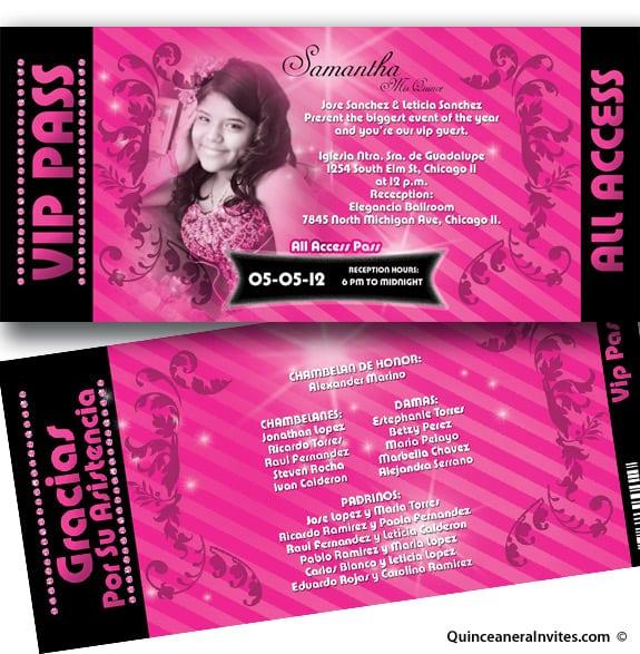 Cheap Quinceanera Ticket Invitations