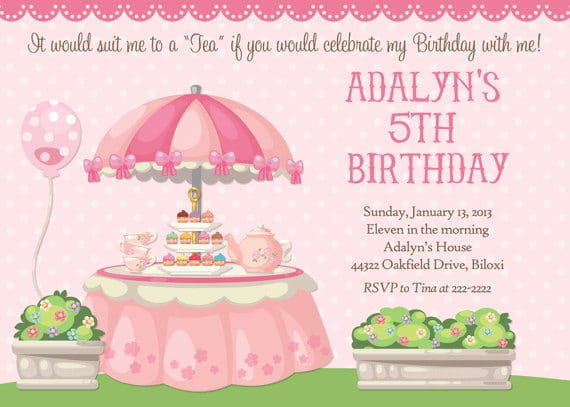 Child Tea Party Invitations Free