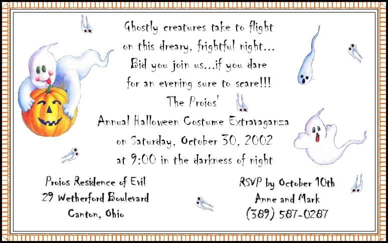 Childrens Halloween Birthday Invitation Wording