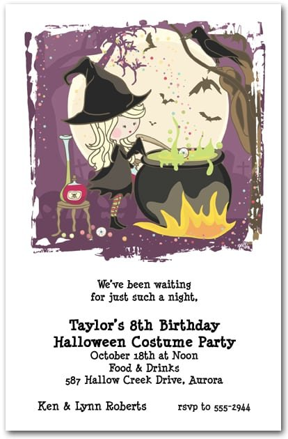 Childrens Halloween Birthday Invitations