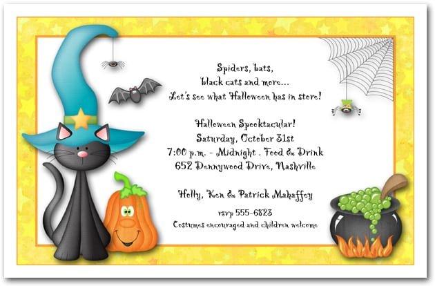 Childrens Halloween Birthday Party Invitations