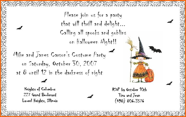 Childrens Halloween Invitation Wording