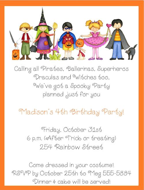 Childs Halloween Birthday Party Invitations