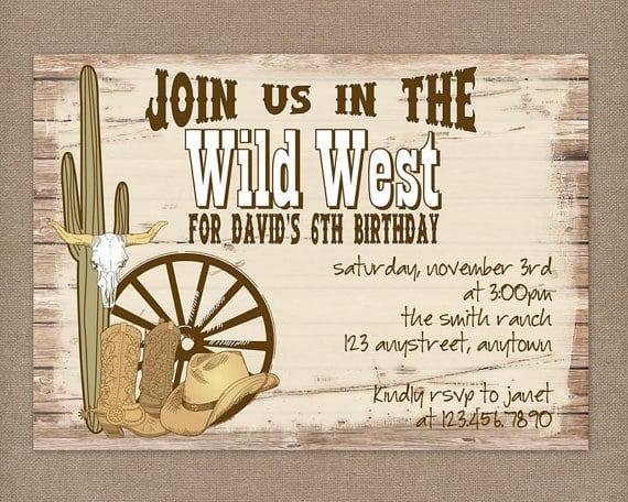 Cowboy Party Invitations Printable