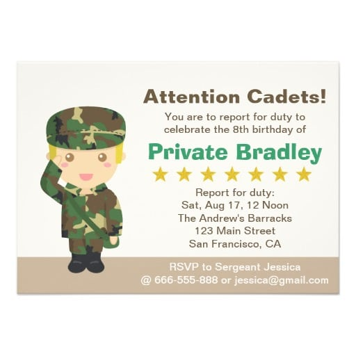 Cute Army Invitations
