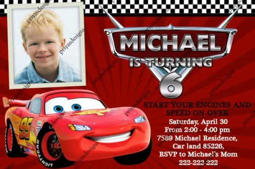 Disney Cars 2 Photo Birthday Invitations