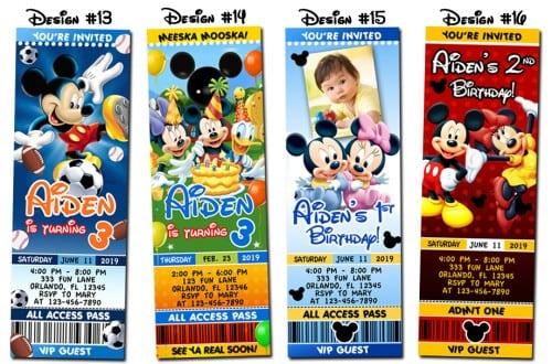 Disney Mickey Mouse Birthday Invitations