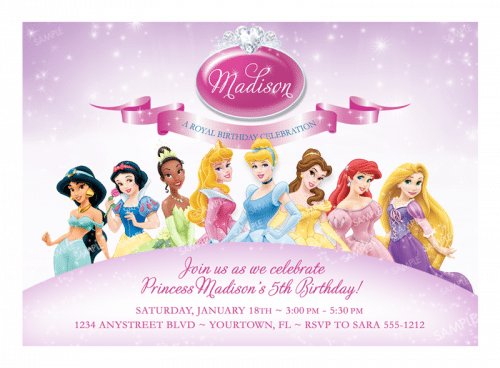 Disney Princesses Birthday Invitations Free Printable
