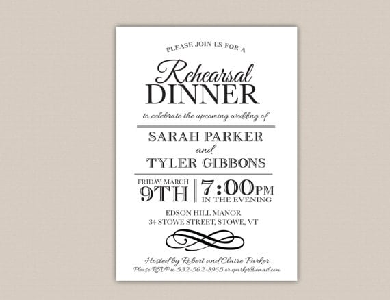 Diy Printable Rehearsal Dinner Invitations