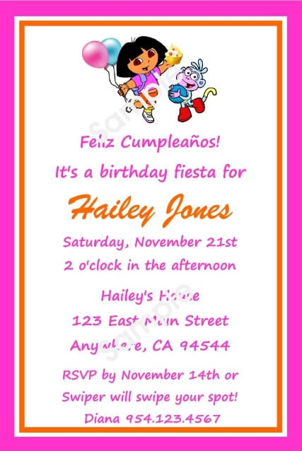 Dora Birthday Invitation Templates