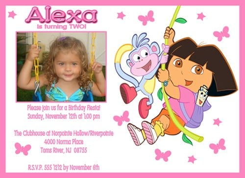 Dora Birthday Invites 2