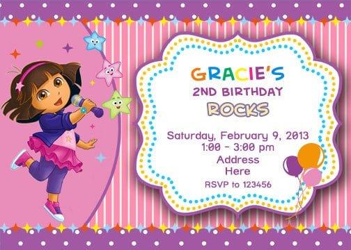 dora birthday invites, Birthday invitations