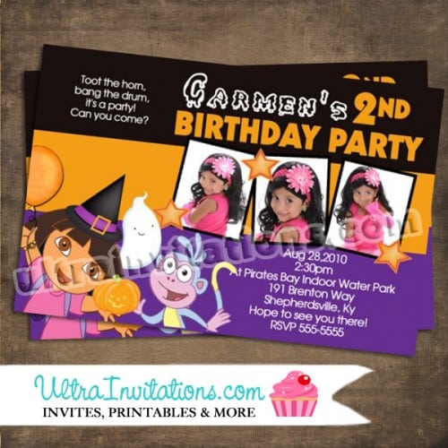 Dora Halloween Party Invitations