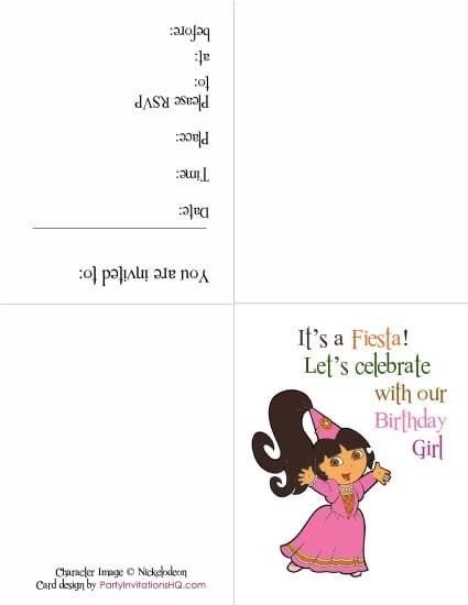 Dora Invitations Printables For Free