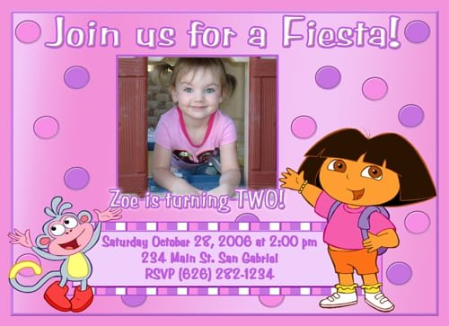 Dora Invites Birthday Party