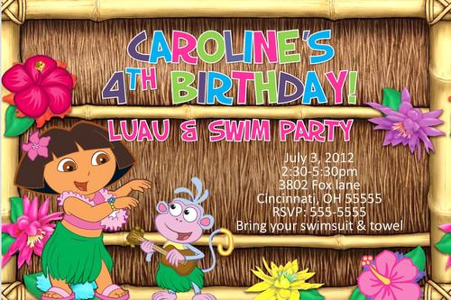 Dora Luau Party Invitation Template