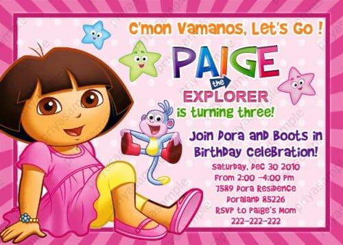 dora birthday invitations – frenchkitten, Birthday invitations