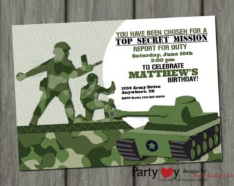 Download Free Birthday Army Invitations