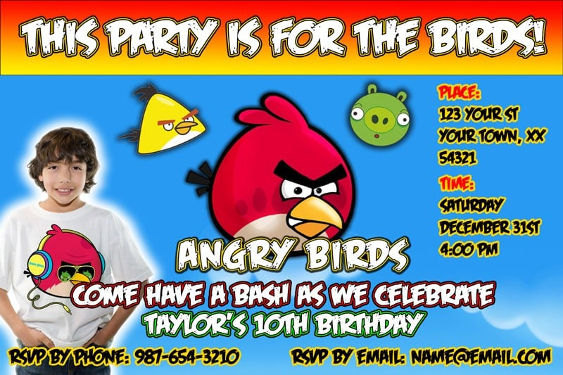 E Invitations Angry Birds