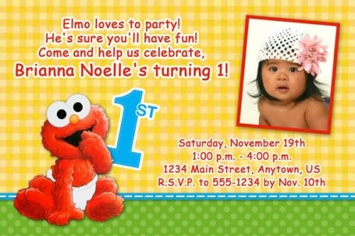 Elmo 1st Birthday Invitation Templates