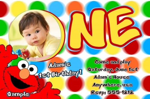 Elmo 1st Birthday Invites