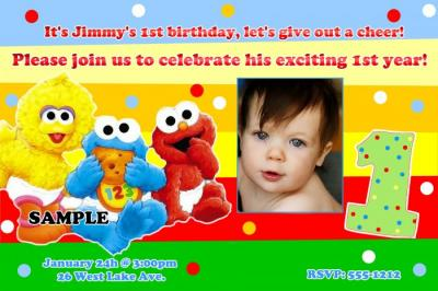 Elmo First Birthday Invites