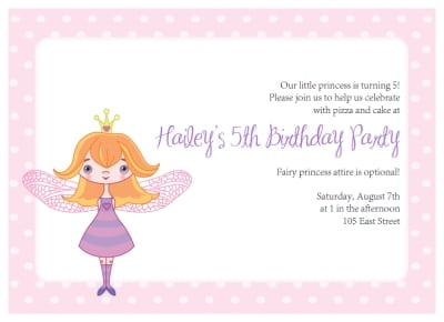 Fairy Princess Invitations Free Printable