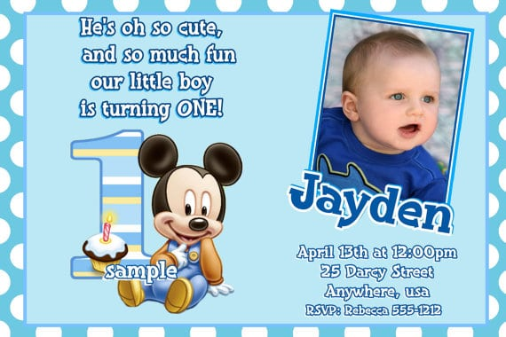 First Birthday Invitation Mickey Mouse