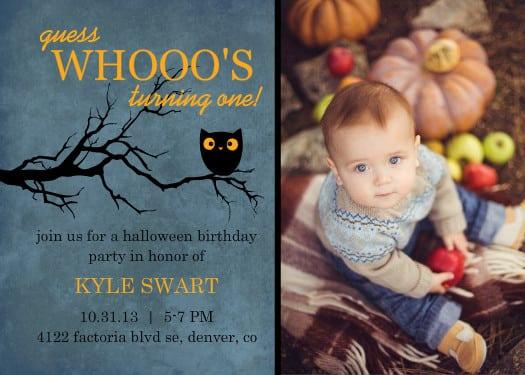 First Birthday Invitations Halloween Theme
